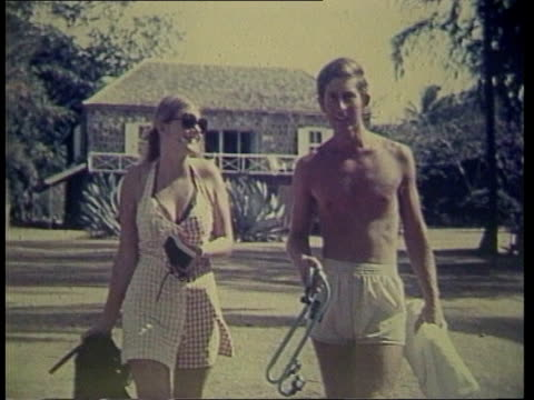 potential honeymoon location; still: 1973 charles with another girl friend - honeymoon stock videos & royalty-free footage