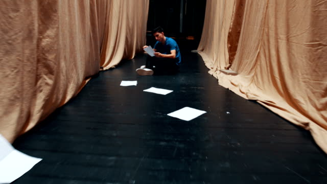 nevous actor reading scenario behind the stage - acting performance stock videos & royalty-free footage