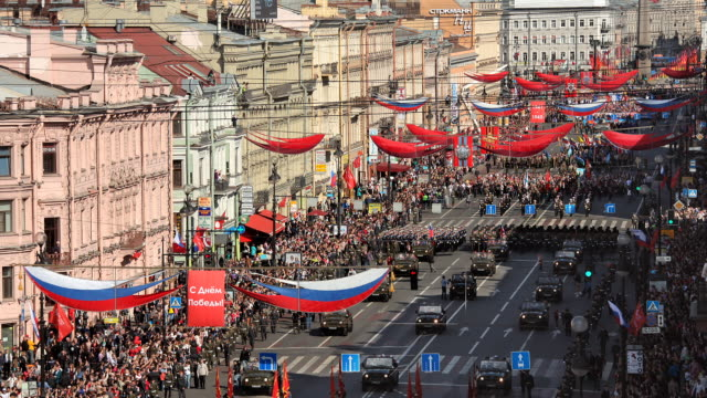 t/l ha nevsky prospekt victory parade 1 - russia stock videos & royalty-free footage