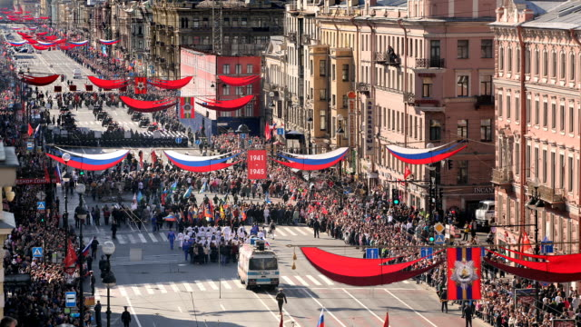 t/l ha nevsky prospekt victory parade 2 - parade stock videos and b-roll footage