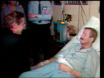 new aids ward/ princess of wales; tx 21.1.87 itn usa: san francisco tms norman fowler with other men towards then l-r as up steps tms aids patient... - aids stock videos & royalty-free footage
