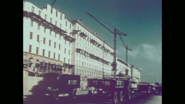 1959 new apartment construction across russia - 1950 1959 stock videos & royalty-free footage