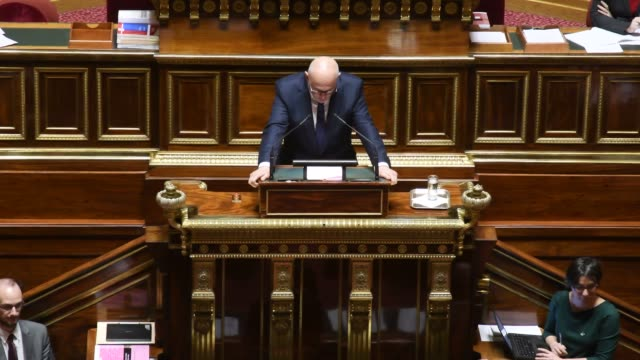 new appointed french high commissioner for pension reform laurent pietraszewski speaks during debate at french senate - january 07 paris - reform stock-videos und b-roll-filmmaterial