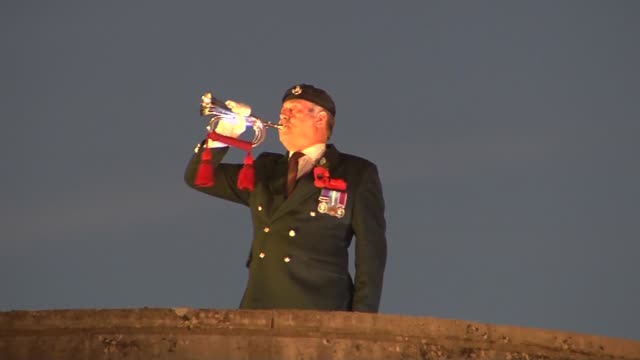 New art installation at Tower of London to commemorate Armistice Day centenary ENGLAND London The Tower of London Bugler playing 'The Last Post'...