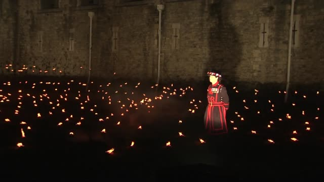 new art installation at tower of london to commemorate armistice day centenary london the tower of london various of people looking at the art... - moat stock videos & royalty-free footage