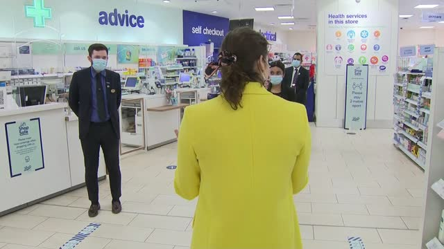 new 'ask for ani' codeword scheme for domestic abuse victims; england: int victoria atkins mp along in boots pharmacy store various shots of atkins... - politics stock videos & royalty-free footage