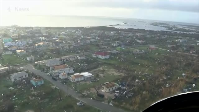 New Barbuda land grab allegations T08111734 / TX 8112017 [Pictures taken from PAB] Barbuda EXT AIR VIEW Town of Codrington with houses destroyed by...