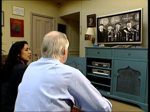new beatles footage released; itn england: london: 2 shot tim rice & nannar tim rice interviewed sot - they were funny, disrepectful in a respectful... - tim rice stock videos & royalty-free footage
