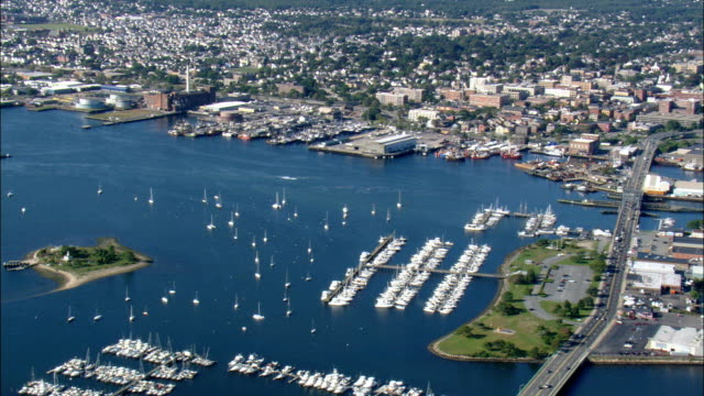 new bedford harbour  - aerial view - massachusetts,  bristol county,  united states - eastern usa stock videos and b-roll footage