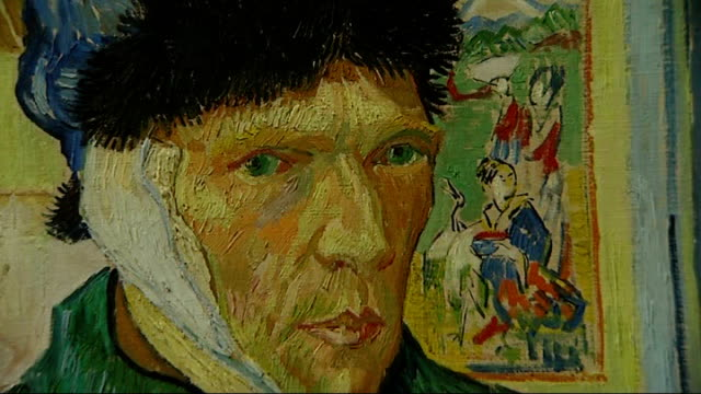 new biography suggests vincent van gogh was murdered close up of self portrait with bandaged ear by vincent van gogh - biography stock videos & royalty-free footage