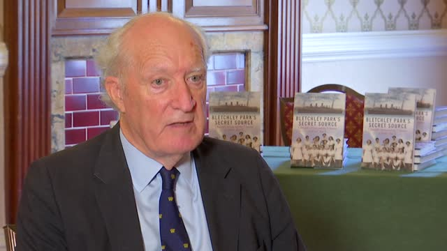 new book on bletchley park women code breakers: pat davies and peter hore interviews; england: london: int peter hore interview sot - war and conflict stock videos & royalty-free footage