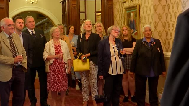 new book on bletchley park women code breakers: pat davies and peter hore interviews; england: london: int pat davies speech sot / cutaways peter... - war and conflict stock videos & royalty-free footage