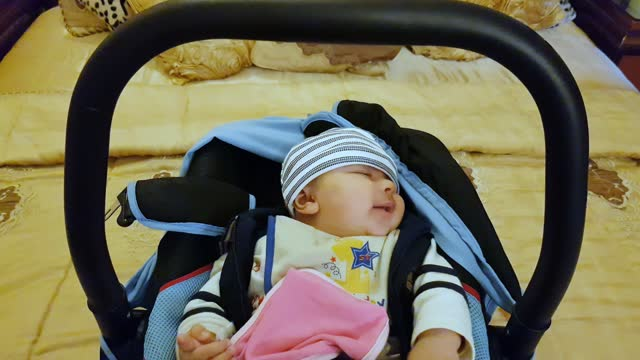 a new born baby girl yawning in her cradle. - one baby girl only stock videos & royalty-free footage