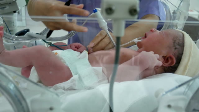 new born measured temperature in a nursery after childbirth - babies only stock videos & royalty-free footage