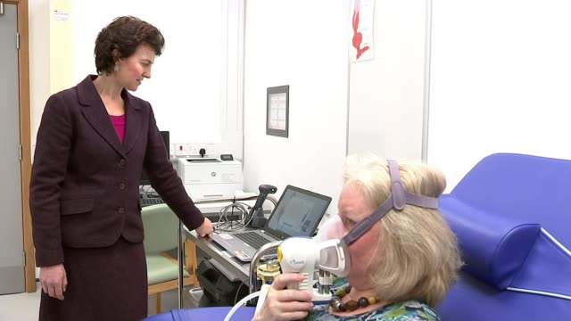 New breath test hopes to revolutionise the diagnosis of cancer ENGLAND Cambridge Addenbrooke's Hospital INT Professor Rebecca Fitzgerald looking at...