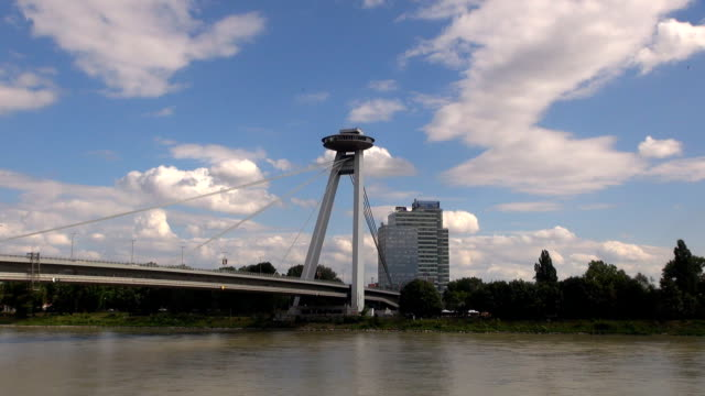 new bridge - bratislava, slovakia - eastern european culture stock videos & royalty-free footage