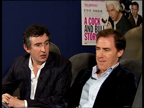 New British movie 'A Cock and Bull Story' ENGLAND London Soho House 3 shot interview with Steve Coogan and Rob Brydon
