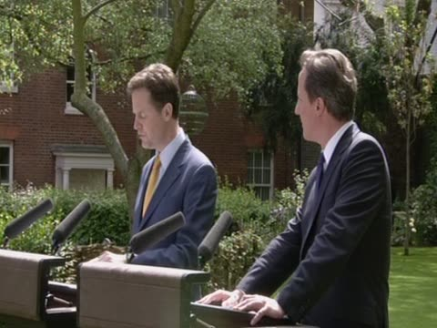 New British Prime Minister David Cameron and the new Deptuty Prime Minister Nick Clegg hold joint press conference to explain the new coalition...