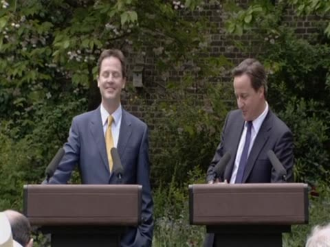 new british prime minister david cameron and the new deputy prime minister nick clegg hold joint press conference to explain the new coalition... - may stock videos & royalty-free footage