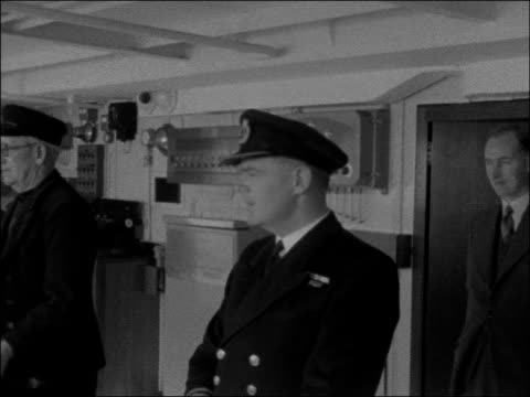 new british railways ship 'duke of lancaster' england at sea in irish channel bow of ship at sea / flag on mast / view from deck looking down at sea... - dining room stock videos & royalty-free footage