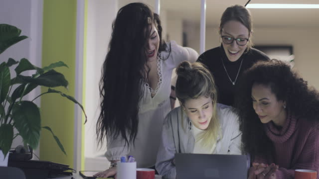 new business startup: all women team work together in coworking office - auction stock videos & royalty-free footage