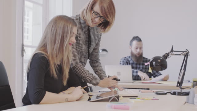 vídeos de stock e filmes b-roll de new business team: at work together in the startup office - designer grafico