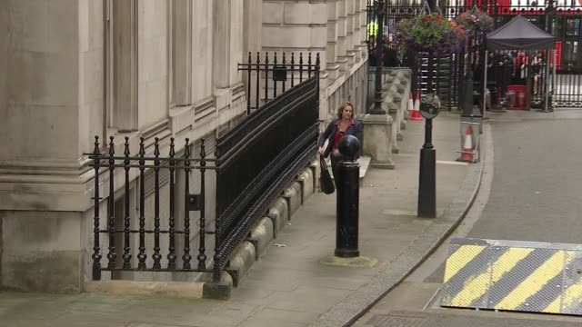 new cabinet arrivals and departures england london downing street ext boris johnson mp along into 10 downing street / amber rudd mp along / philip... - boris johnson stock-videos und b-roll-filmmaterial