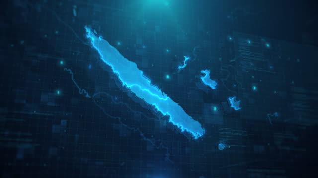 vidéos et rushes de nouvelle-calédonie carte sur fond animé bleu 4k uhd - french overseas territory