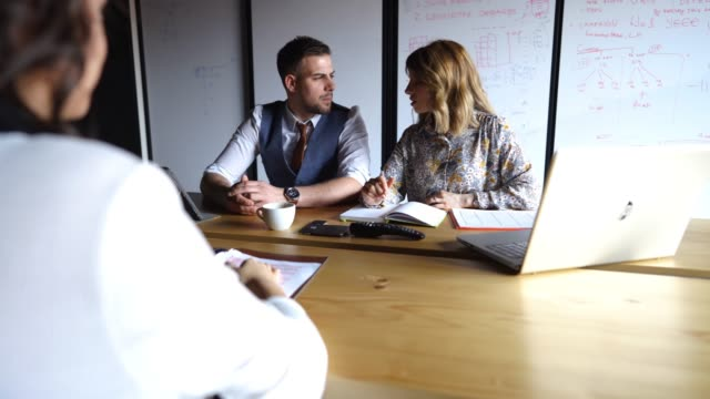 vídeos de stock e filmes b-roll de new candidate on business interview - empregado