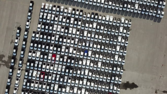 new cars for export at port - large group of objects stock videos & royalty-free footage