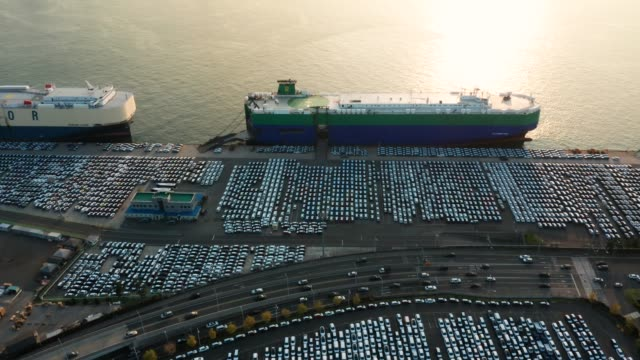 vidéos et rushes de new cars lined up at industrial factory port for loading to roll on roll off (roro) carrier - échange commercial