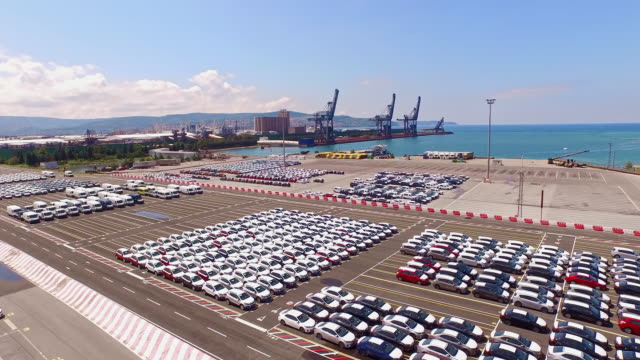 aerial new cars parked at port koper, slovenia - ship stock videos & royalty-free footage