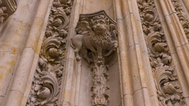new cathedral in salamanca city, salamanca province, castilla y leon, spain, europe - 人の姿点の映像素材/bロール