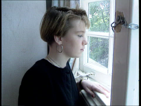 new childrens' homes regulations w'minster virginia bottomley mp intvwd sof wants good quality care herts cms side 'caroline' looking out window ext... - virginia bottomley stock-videos und b-roll-filmmaterial