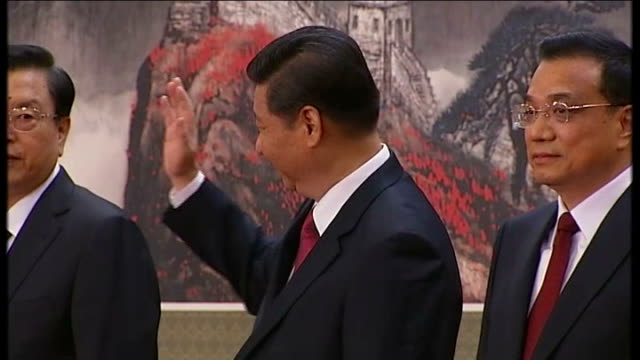 New Chinese President Xi Jinping gives speech CHINA Bejing PHOTOGRAPHY *** Newly elected Chinese leaders onto stage to applause New Chinese President...