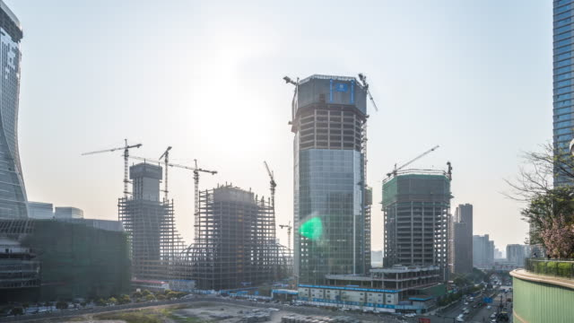 new construction site in hangzhou at sunset. timelapse 4k - hangzhou stock videos & royalty-free footage