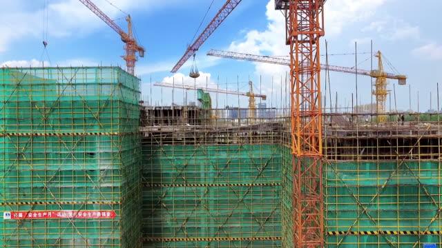 new constructions site in modern city - cantiere di costruzione video stock e b–roll