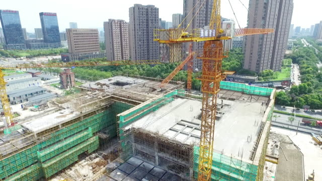 new constructions site in modern city - hangzhou stock videos & royalty-free footage
