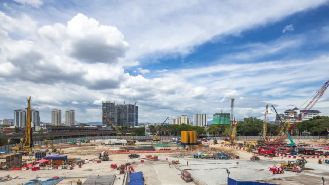 new constructions site in modern city.time lapse - construction site stock videos and b-roll footage