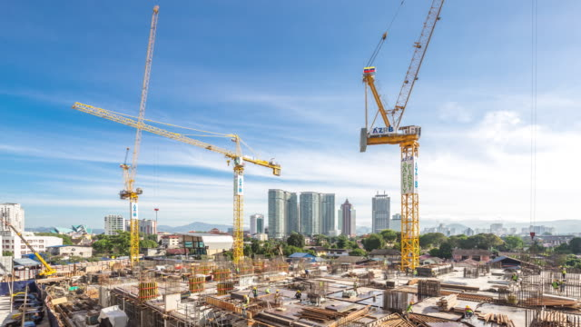 new constructions site in modern city.time lapse
