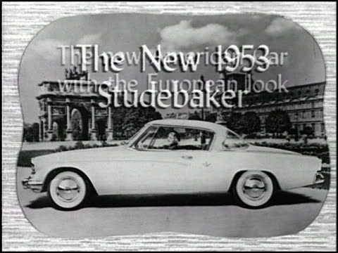 """""""new continental style! new american comfort and power! what a combination for modern motoring!"""" shouts the announcer. this vintage tv spot promotes... - raymond loewy video stock e b–roll"""