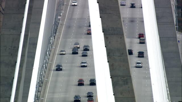 new cooper river bridge  - aerial view - south carolina,  charleston county,  united states - carolina del sud video stock e b–roll