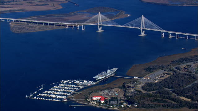 new cooper river bridge  - aerial view - south carolina,  charleston county,  united states - south carolina stock videos & royalty-free footage