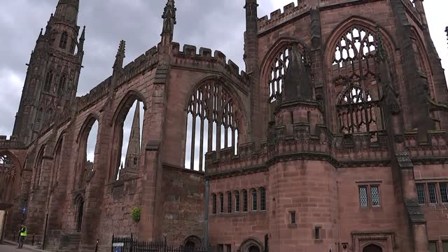 new coventry cathedral and ruins of the old cathedral; england: warwickshire: coventry: ext various of the ruins of the original coventry cathedral... - war and conflict stock videos & royalty-free footage