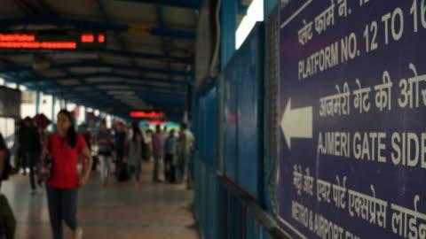 new delhi railways station (code ndls) connecting bridge - railway station stock videos & royalty-free footage