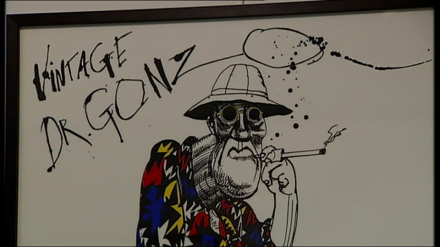 new documentary charts the life of cartoonist ralph steadman cartoon on display in retrospective exhibition of the work of steadman featuring gonzo... - ralph steadman stock videos & royalty-free footage
