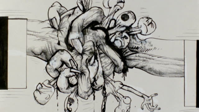 new documentary charts the life of cartoonist ralph steadman various works by steadman on display - ralph steadman stock videos & royalty-free footage