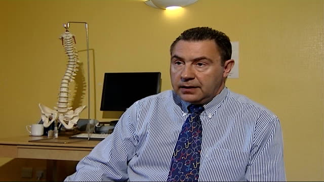 new drug may reduce fractures for osteoporosis sufferers; brian hammond interview sot - osteoporosis stock videos & royalty-free footage