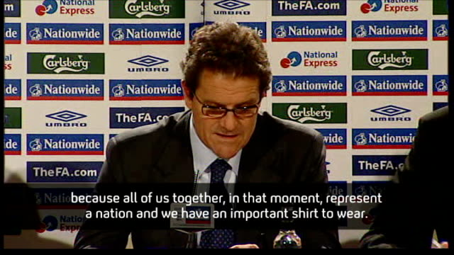 new england coach fabio capello sets out plans for the england team england london royal lancaster hotel photography*** fabio capello press... - national team stock videos & royalty-free footage