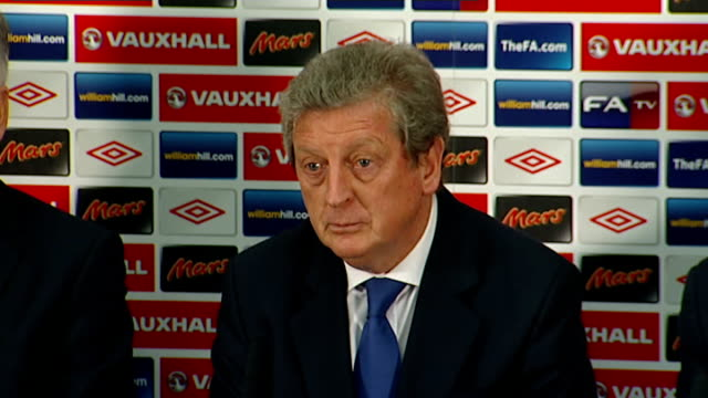 new england manager roy hodgson press conference; roy hodgson press conference sot - happy to be offered the chance / not an easy task / want... - double chance stock videos & royalty-free footage